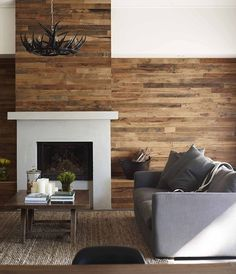 Simple and stylish, we love this timber living room. Tv Above Fireplace, Open Fireplace, Fireplace Design, Palette, Chic Living Room, Wood Slats, Wood Accents, Country Chic, Coastal Decor