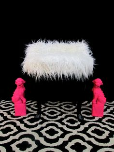 Vintage Hollywood Hollywood Regency Faux Fur Swiveling Vanity Chair by ElectricMarigold on Etsy