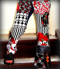 Close-up of Skulls patchwork jeans by 4getmeknot Wearable ⒶⓇⓉ