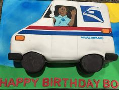 USPS Mail Man Truck cake