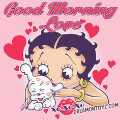 Good Morning Love MORE Betty Boop Images http://bettybooppicturesarchive.blogspot.com/  ~And on Facebook~ https://www.facebook.com/bettybooppictures   Betty Boop giving Pudgy hugs and kisses XO-XO-XO #Greeting