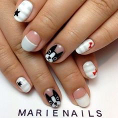 Looking for new nail art ideas for your short nails recently? These are awesome designs you can realistically accomplish–or at least ideas you can modify for your own nails! Dog Nail Art, Animal Nail Art, Dog Nails, Cute Nail Art, Cute Nails, Pretty Nails, Nail Art Designs, Girls Nail Designs, Nagel Hacks