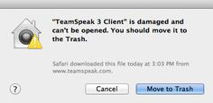 TeamSpeak 3 Client is damaged and can't be opened