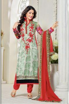 Hina Khan In Multi-Colour Georgette Salwar Suit - 16910