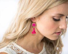 Hot Pink Tassel Dangle Earring