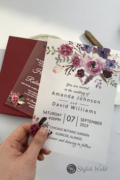 These beautiful blooms in shades of pinks and purples are printed in UV Technology, meaning they all have a raised texture. The wording is also raised and a perfect choice for a wedding in any season. #weddingideas#weddinginvitations#stylishwedd #stylishweddinvitations #weddingstationery#springwedding#summerwedding#2021wedding