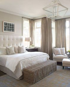 Natural bedroom, floor to ceiling curtains