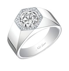 Neil Lane fancy grey round diamond and platinum ring, R03517.