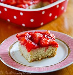Strawberry season calls for this delicious cake. Added bonus? It's practically fat-free!