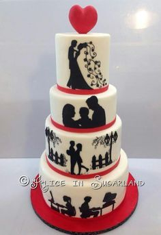 Black, ivory and red cake with story telling silhouette ... From dating to marriage/wedding to a baby/family ... Our story wedding cake