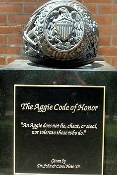 Texas A & M University Aggies - statue of ring and Aggie Code of Honor