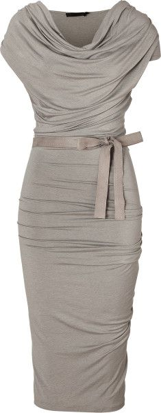 Donna Karan New York Gray Hemp Draped Jersey Dress with Belt #Womens-Fashion