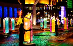 Three interactive installations which appeared in the Luminothérapie festival in Montréal's Quartier des Spectacles in the past are now touring a number of cities in Europe and North America, entertaining the public and lighting up the holidays. Installation Interactive, Interactive Art, Installation Art, Art Installations, Montreal Ville, Of Montreal, Winter Light Festival, Art Public, Public Space Design