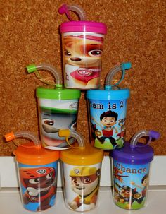 Paw Patrol Party Favor Cups Personalized With Name Age, Paw Patrol Birthday Treat Cups Set of 6, BPA Free  These are great to put treats inside of or to put in your party favor bags!