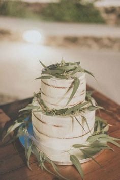Floral Wedding Cakes This white two-layered cake keeps with the eucalyptus theme of this Greece wedding Crazy Wedding Cakes, Purple Wedding Cakes, Blue Wedding, Santorini Wedding, Greece Wedding, Exotic Wedding, Spring Wedding Inspiration, Wedding Cake Flavors, Wedding Cake Toppers