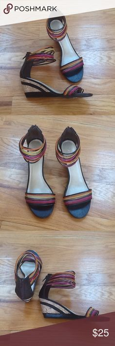 "Ankle Wrap Wedge Sandals NWT'S Ankle Wrap Sandals. Zips in back. Wedge Heel is approx 2 1/2"". Size 7 1/2 NWT'S Fusion Shoes"