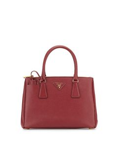 Saffiano Lux Small Double-Zip Tote Bag, Wine (Cerise) by Prada at Neiman Marcus.