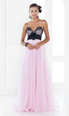 Pink Strapless Prom Gown by Blush 9348 at PromGirl.com