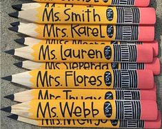 Personalized Pencil Teacher Gift Back to school classroom Back To School Gifts For Teachers, Diy Back To School, Personalized Pencils, Personalized Teacher Gifts, Art Club Projects, Teacher Appreciation Cards, Teacher Name, Origami, Etsy Business