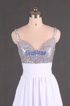 Short white chiffon homecoming dresscheap v-neck prom by Evdress