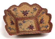 Ojibwe birchbark tobacco tray Native American Baskets, Native American Artists, American Indians, Birch Bark Baskets, Brooms And Brushes, Minnesota Historical Society, Indian Baskets, First Nations, Wood Boxes