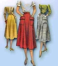 1950s Vintage McCalls Sewing Pattern 8484 Lovely Misses Day Skirt Size 26 Waist