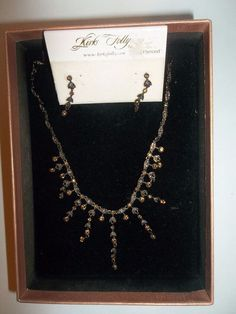 Retired Kirks Folly Amber Crystal  Victorian Necklace Earring Set Wedding Bride…