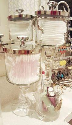 Reuse BBW candle jars for Easy DIY Bathroom storage! More