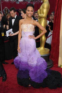 <3My favorite Oscar dress of all time; Zoe Saldana in Givenchy at the 2010 Oscars.