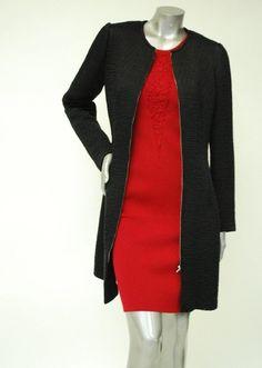 62e2845c7797 Knit, Long Black Jacket Sale - Textured Rib Design. Paula Hian - Designer