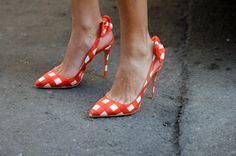 Viviana Volpicella. From Glamour.com. Cute shoes for Spring. I guess Tangerine Orange is the It!