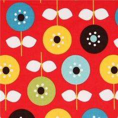 red flower corduroy fabric by Robert Kaufman from the USA