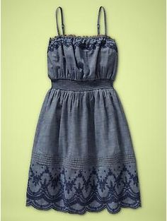 Embroidered Chambray Dress (I wish this came in grown up sizes!)