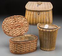 Three Basket-Form Biscuit Tins, early 20th century Huntley & Palmers 6-3/8 inches high (16.2 cm) (tallest) ... (...