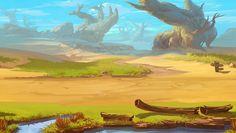 Game Background, Textured Background, Landscape Background, Environment Concept Art, Environmental Design, Fantasy Landscape, Beautiful Artwork, Game Design, Cartoon Art