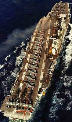 HMS Ark Royal carrying Phantoms, Gannets, Wessex, and Buccaneers aboard