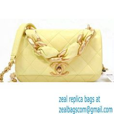 Chanel Shiny Lambskin Entwined Chain Small Flap Bag AS2387 Yellow 2021