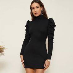 High Neck Gigot Sleeve Rib-Knit Bodycon Dress #Bodycondress #spring2021 #Womenoutfits #fashion #likeforlike #comment #followforfollow