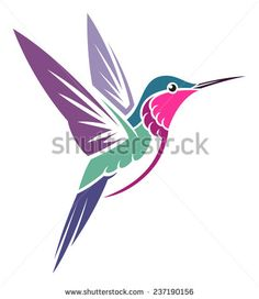 Stylized Bird - Amethyst Woodstar - stock vector                                                                                                                                                                                 Más