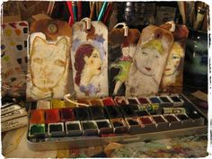lynnehoppe:  my art table this morning Painted Boxes, Hand Painted, Casein Paint, William Stafford, Garden Studio, Hang Tags, Paper Goods, Small Gifts, Altered Art