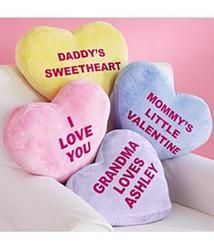 Personalized Heart Message Pillows with Free Candy! Yes please!