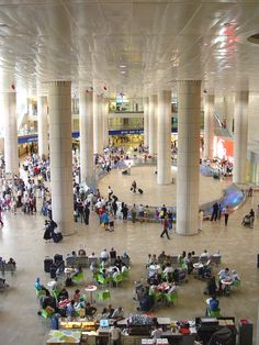 The impressive hypostyle Arriving Passengers Hall  at Terminal 3 of the Ben Gurion International Airport