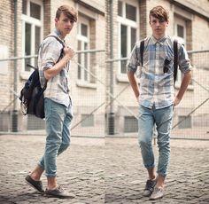 Zara Shoes, Cheap Monday Skinny Jeans, Weekday Shirt, H Sunglasses, Zara Bag Pack