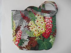 Cheery floral Barkcloth purse by TheRetroSeamstress on Etsy, $30.00