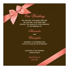 coral and brown wedding | 25 x 5 25 coral red ribbon on chocolate brown background one side ...
