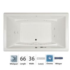 "Jacuzzi ACE6636WCR4CW Acero 66"" Whirlpool Bathtub for Drop In / Undermount Insta Oyster Tub Whirlpool Drop-In"