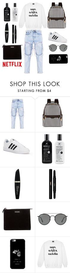 """DAILY"" by selenamala ❤ liked on Polyvore featuring Henri Bendel, adidas, Max Factor, Yves Saint Laurent, Kate Spade and Ray-Ban"
