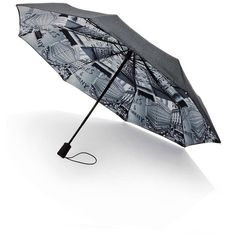 Saks Fifth Avenue Collection Saks-Printed Lining Umbrella (77 CAD) ❤ liked on Polyvore featuring accessories, umbrellas, umbrella, apparel & accessories und grey