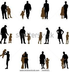 father with sons and daughters silhouettes
