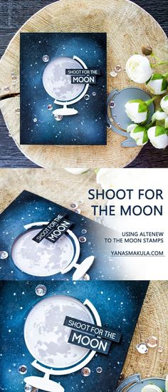 Create a window Shoot For The Moon card featuring easy galaxy ink blended background using Altenew To The Moon stamps and Big World dies. To learn more, visit http://www.yanasmakula.com/?p=55213